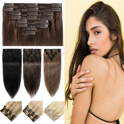 Clip In Real Remy Human Hair Extensions Russian Full Head 8PCS CLEARANCE Brown • 15.32£