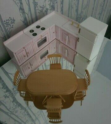 Dolls House Furniture 12 Scale Pink Kitchen Table & Chairs, Fireplace. • 28£