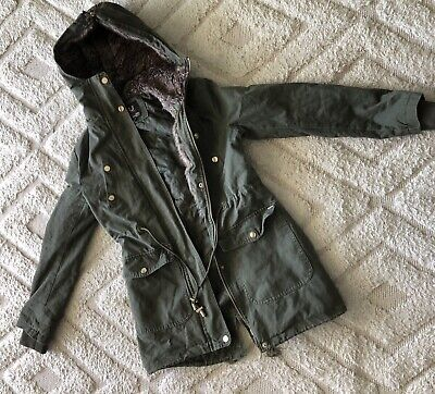AU15.99 • Buy Womens Clothing Khaki Green Warm Hooded Jacket Zips And Buttons Worn Once