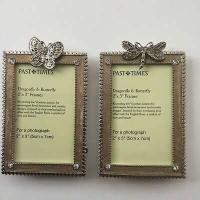 PAST TIMES 2 PHOTO PICTURE FRAMES DRAGONFLY & BUTTERFLY  NEW OTHER IN Voile Bags • 8.99£
