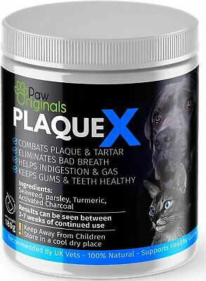 Plaque X 100% Natural Plaque Off Tartar Remover Dogs Cats Breath Fresh 180g • 10.74£