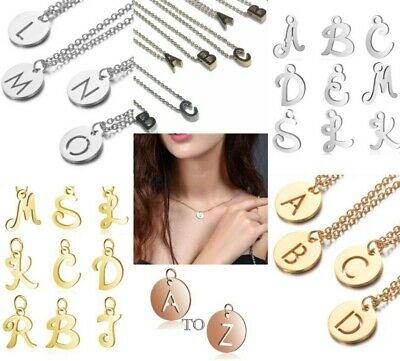 £3.49 • Buy Initial Pendant Necklace Alphabet Chain Letter Gift Girls Womens Jewellery Charm