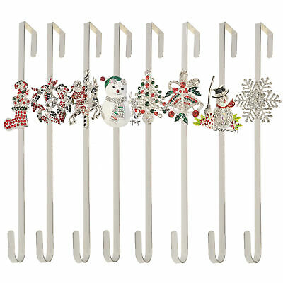 Silver Crystal Christmas Wreath Door Hanger Metal Door Hook Decoration 38cm 15  • 12.95£