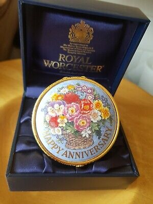 £19.99 • Buy Royal Worcester Connoisseur Collection China Pill/Trinket Box  Happy Anniversary