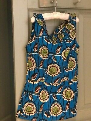 African Print Blue Cotton Girls Vest • 0.49£