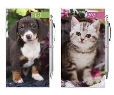 2021 Diary - Kitten / Puppy - Slim - Cats & Dogs - Weekly View Diary With Pen! • 2.99£