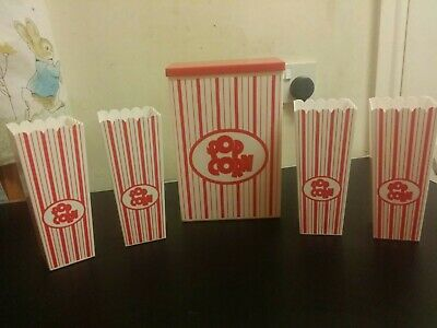 5 Hard Plastic Tall Popcorn Container Cup Stackable 19cm X 8cm (small Ones) • 24.99£
