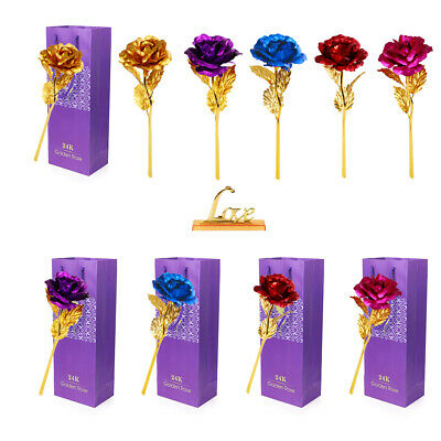 AU11.43 • Buy Simulation 24K Gold Foil Rose Flower Gift Box Valentines Day Birthday Gifts HOT