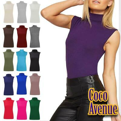 £4.85 • Buy Ladies High Polo Neck Sleeveless Top Casual Plain Stretchy Bodycon Vest T-Shirt