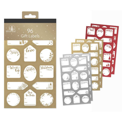96 Silver/Red/Gold Labels Christmas Tag STICKER Gift Tags Name Xmas Present • 1.99£