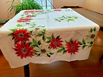 $ CDN31.46 • Buy Vintage Tablecloth Christmas Poinsettias White W Red & Green 66 X 50 Oblong Flaw
