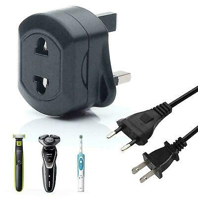 EU 2 Pin To UK 3 Pin Fused Adaptor Plug Black For Shaver/Toothbrush • 4.30£