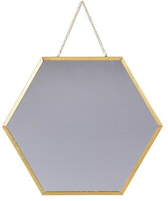 £9.99 • Buy 30cm Hexagon Shaped Hanging Wall Mirror Bathroom Shaving Mirror With Gold Frame