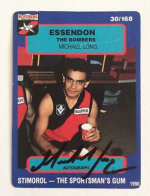 AU40 • Buy Michael Long Essendon Bombers Signed AFL Football Card 1990 Select