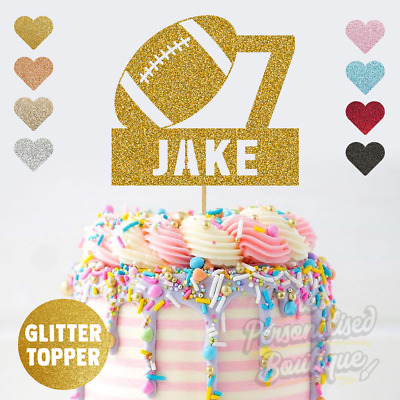 £3.99 • Buy Personalised Custom Glitter Cake Topper, Rugby Football Boys Birthday Party