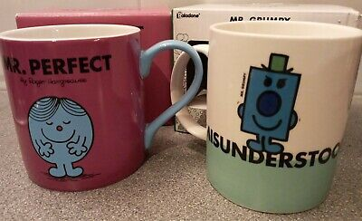 Mr Perfect & Mr Grumpy #Musunderstood Mugs X 2 Roger Hargreaves NEW Boxed • 15£