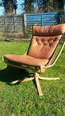 £900 • Buy Vintage Norwegian Danish Sigurd Ressell Leather Falcon Arm Chair And Stool
