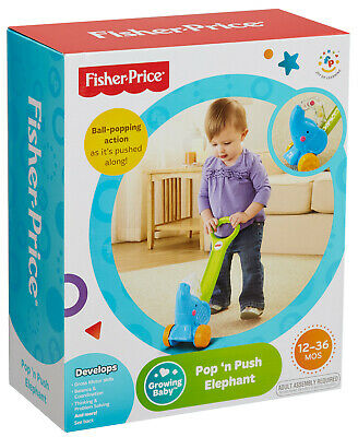 Fisher Price Pop 'n Push Elephant Push Along Toy For Baby Toddler - New • 14.99£