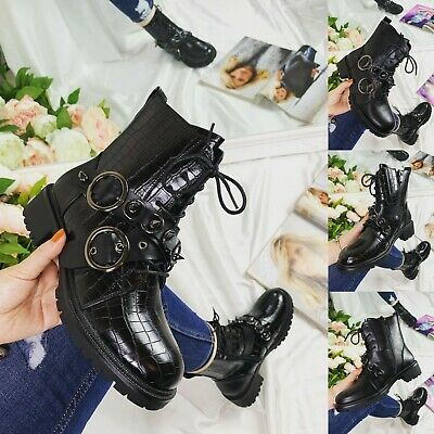 £18.99 • Buy Ladies Womens Military Stud Boots Army Combat Ankle Lace Up Flat Biker Zip Shoes