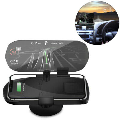 $21.42 • Buy Qi Wireless Charger Charging Holder Car HUD Head Up Display GPS Projector Mirror