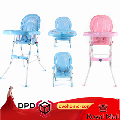 Non-Slip Baby Feeding High Chair Seat Foldable Children Infant Boy Blue/Pink • 29.20£