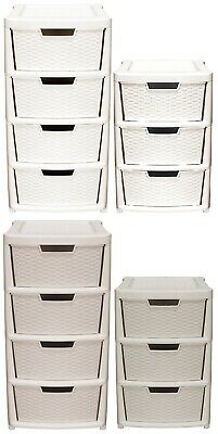 Large 3 & 4 Plastic Rattan Drawer Storage Tower Unit Chest Office Home School • 30.99£