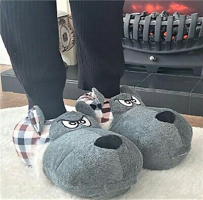 £9.95 • Buy Mens Boys Womens Novelty Fluffy Warm Gift Dog Face 3d Slippers Mules Boots Size