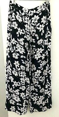 AU24.95 • Buy Forever New Women's Size 6 Pants Viscose Soft Fabric Navy White Floral Wide Leg