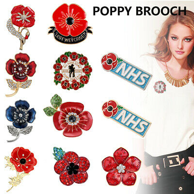 Enamel Brooch Badges Pin 2020 Lapel Crystal Brooch New Red Flower Badge DA • 1.79£