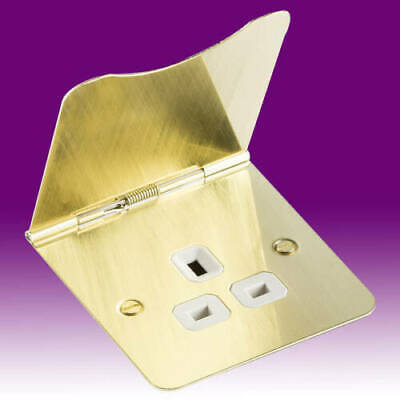 13 Amp 1 Gang Unswitched Floor Socket  Flat Plate Office Sockets Brushed Brass • 12.79£