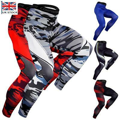 Mens Compression Tight Base Layer Leggings Running Sports Pants Stretch Trousers • 11.51£