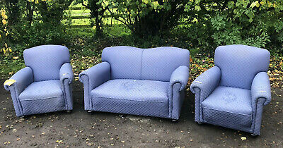 £120 • Buy Antique Three Piece Suite Chesterfield Sofa Edwardian Reupholstery Howard Style