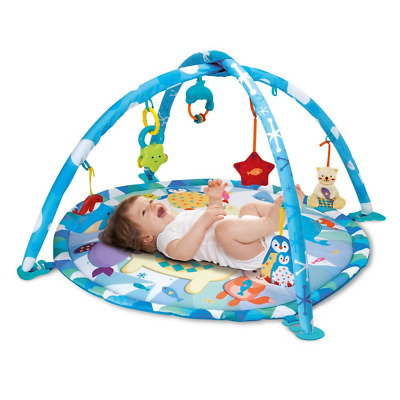 £31.72 • Buy Baby's First Playmat Toddler Infant Baby Play Mat With Hanging Toys Blue Animals
