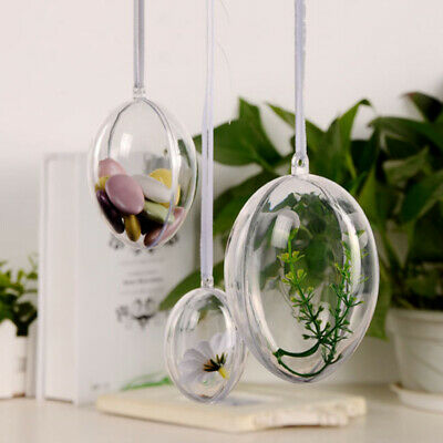 10pcs Clear Fillable Acrylic Egg Candy Boxes Christmas Bauble Ball Tree Ornament • 5.83£