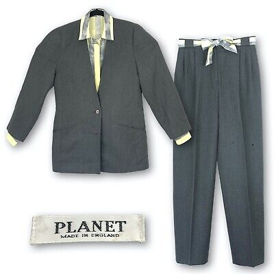 Vintage Womens Planet Grey Suit Size 12 Collarless Jacket Trousers Striped Shirt • 14.99£