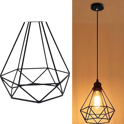 Metal Pendant Light Shade Ceiling Industrial Geometric Wire Cage Lampshade Lamp • 7.99£