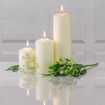 £6.99 • Buy Unscented Thick Round White Christmas Table Church Pillar Candles Long Lasting