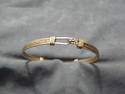 $59.95 • Buy Antique Victorian Yellow Gold Filled 4 Mm 6  Twist Straight Wire Bangle Bracelet