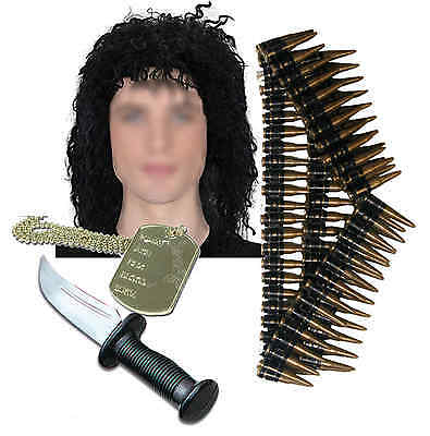 Army Mens Mexican 80s Solider Fancy Dress Costume Knife Dog Tag Wig Bullet Belt • 19.10£