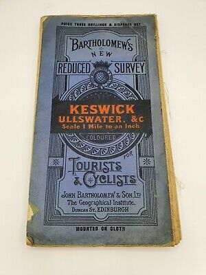1920 Bartholomew's Map For Tourists And Cyclists - Keswick And Ullswater - Cloth • 6.50£