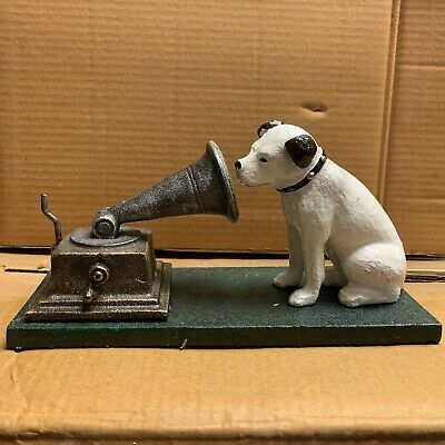 Cast Iron Hmv His Masters Voice Nipper Dog & Gramophone Ornament • 19.95£