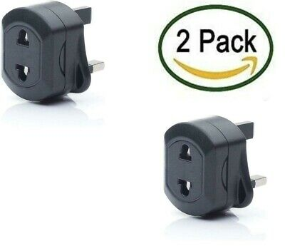 European/USA / AUS 2 Pin To UK 3 Pin Plug Adaptor BLACK Travel Adapter PACK OF2  • 5.99£