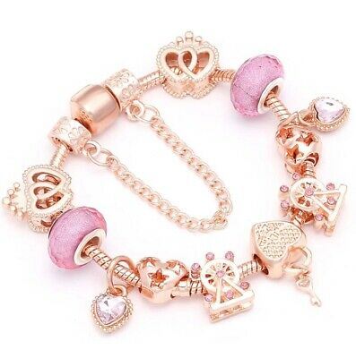 AU25 • Buy European Charms Bracelets Snake Chain Rose Gold Heart By Pandora's Queen