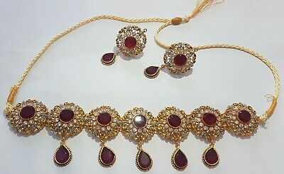 Gold Choker Necklace Set Earrings Wedding Indian Bollywood Jewellery  • 22.99£