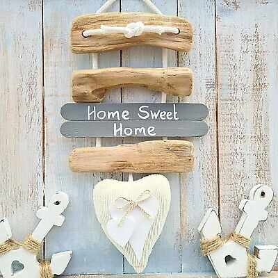 £8.99 • Buy Shabby Driftwood Chic Home Sweet Home Double Heart Bow Door Plaque Sign.