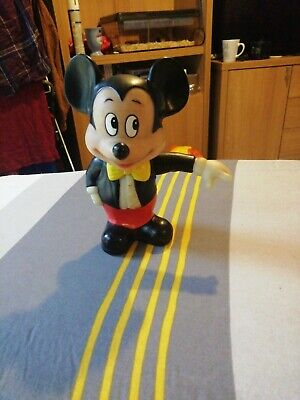 Vintage Mickey Mouse Disney Plastic Money Box Rare Retro + STOPPER • 10£