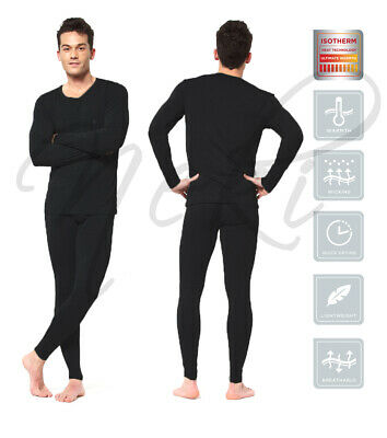 Mens Thermal Long Johns Top Bottom Underwear Black Full Sleeve Set Base Layer • 4.59£