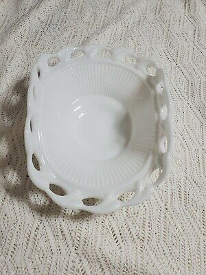 $11 • Buy Vintage Milk Glass Banana Boat Fruit Bowl Open Lace Edge Curved Dish
