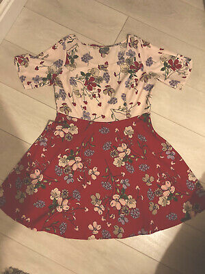 £9.99 • Buy ASOS Floral Two Tone Flippy Dress Size 16 Pink Ivory