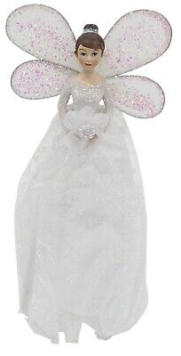 Christmas Tree Topper Fairy Angel Decoration Treetop Ornaments White Gown • 10.99£